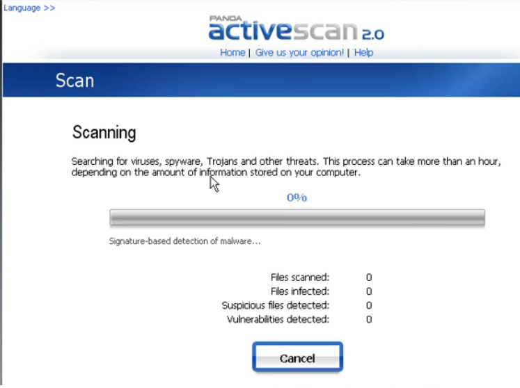 Panda Activescan shown scanning a computer