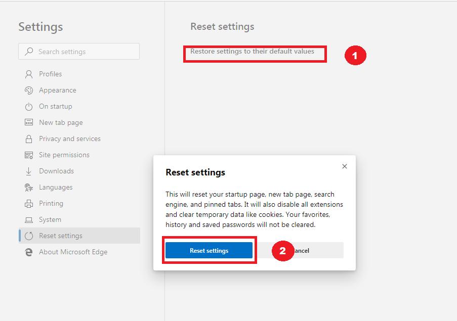 Microsoft Edge Reset Settings