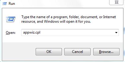 Run Command Interface appwiz.cpl