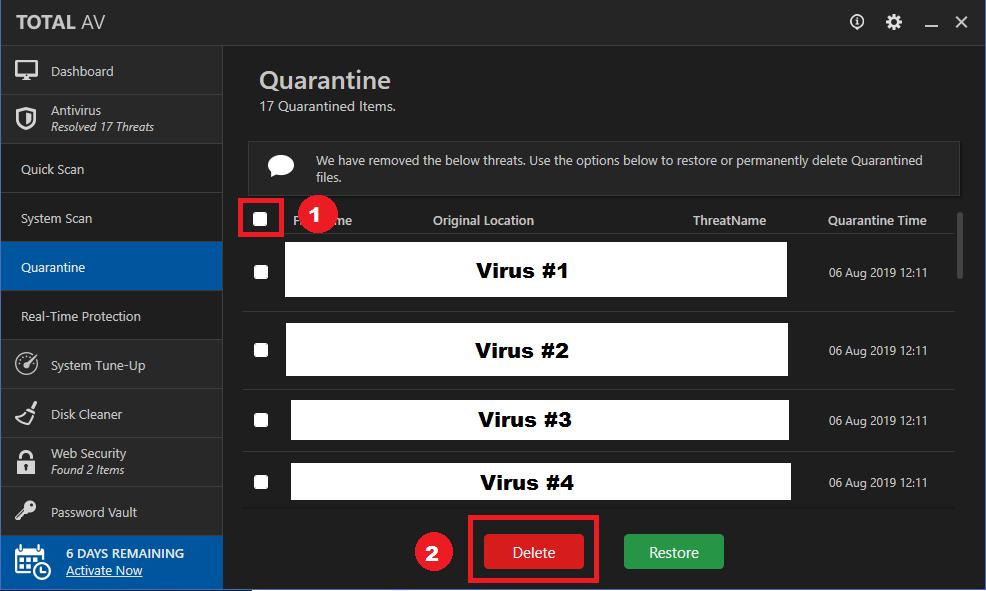 Virus Delete Quarantine